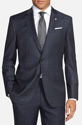 Ted Baker 'Jay' Trim Fit Check Wool Sport Coat Blue