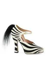 Gucci Lesley Zebra Leather And Fur Pumps White Nero