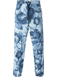 Armani Jeans Floral Print Drawstring Trousers Blue