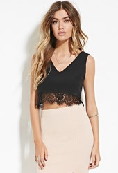 Forever 21 V Neck Lacy Crop Top Black