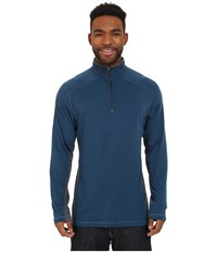 Royal Robbins Go Everywhere 1 4 Zip Shirt Phoenix Blue Men's Long Sleeve Pullover
