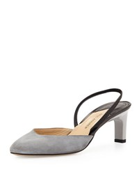 Paul Andrew Celestine Low Heel Suede Slingback Pump Mercury Grey