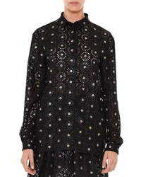 Marco De Vincenzo Flower Embellished Long Sleeve Shirt Black