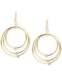 Touch Of Silver Gold Plated Crystal Triple Gypsy Hoop Earrings