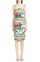 Women's Dolce And Gabbana Tile Print Ruched Stretch Silk Charmeuse Tank Dress
