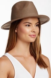 David And Young Pebble Faux Leather Band Panama Hat Beige