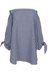 Tibi Gingham Off The Shoulder Tunic
