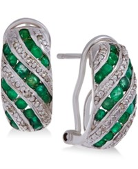 Macy's Gemstone 1 Ct. T.W. And Diamond Accent Omega Earrings In Sterling Silver Green