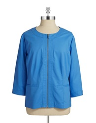Rafaella Plus Plus Cotton Zip Up Jacket Marina