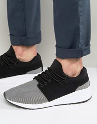 Pull And Bear Pullandbear Faux Leather Runner Trainers In Black White Black