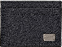 Dolce And Gabbana Navy Leather Card Holder
