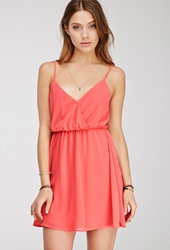Forever 21 Chiffon Surplice Cami Dress Coral