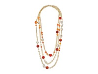 Kenneth Jay Lane 36 Three Row Link Multi Beads Necklace Multi Amber Pearl Gold Necklace