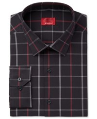 Alfani Men's Slim Fit Stretch Black Window Check Dress Shirt Only At Macy's