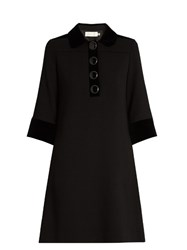 Goat Clarissa Velvet Trim Wool Crepe Dress Black