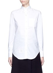 Thom Browne Stripe Ribbon Trim Cotton Oxford Shirt White