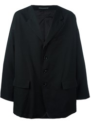 Yohji Yamamoto Oversized Single Breasted Coat Black