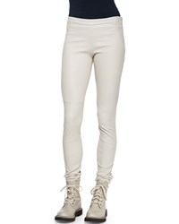 Brunello Cucinelli Side Zip Stretch Leather Leggings Women's Granite