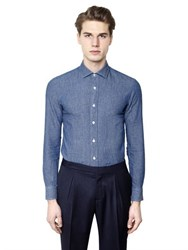 Salvatore Piccolo Slim Fit Cotton Linen Denim Shirt