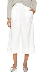 Tibi City Stretch Cropped Pleated Pants Ivory