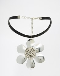 Asos Big Daisy Choker Necklace Rhodium