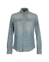 Aglini Denim Denim Shirts Men Blue