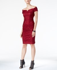 Guess Off The Shoulder Lace Sheath Dress Red