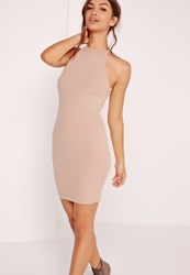 Missguided Carli Bybel Ribbed Square Neck Bodycon Dress Nude Beige