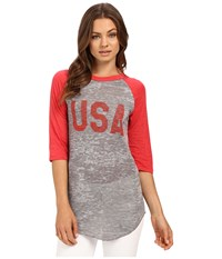 Alternative Apparel Big League Baseball Tee Usa Print Grey Heather Red T Shirt Gray
