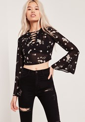 Missguided Floral Lace Up Flared Sleeve Crop Blouse Black Black