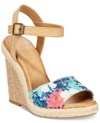 Dolce By Mojo Moxy Posey Espadrille Wedge Sandals Women's Shoes Blue Floral Multi
