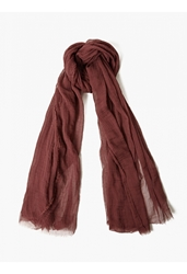 Drkshdw Men's Maroon Raw Edged Scarf
