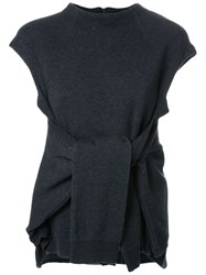 Fad Three Tied Front Knitted Blouse Grey