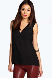 Boohoo Deep V Neck Sleeveless Tank Black