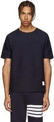 Thom Browne Navy Rope Stitched T Shirt