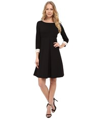 Donna Morgan 3 4 Sleeve Crepe Shift With Jeweled Cuffs Black Women's Dress