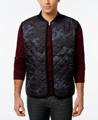 Dkny Jeans Camo Print Quilted Fleece Vest Black