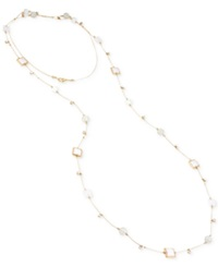 Trend M. Haskell Gold Tone White Mixed Bead Long Necklace