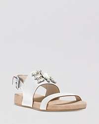 Michael Michael Kors Open Toe Flat Sandals Luna Jeweled White