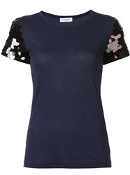 Sonia Rykiel Sequined Sleeve T Shirt Blue
