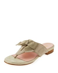 Taryn Rose Izze Suede Bow Thong Sandal Taupe Brown