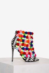 Privileged Rainbow Pom Pom Heel Printed
