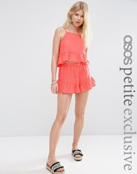 Asos Petite Textured Beach Short Co Ord Coral Multi