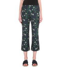 Whistles Cropped High Rise Pansy Jacquard Trousers Navy