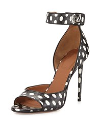 Givenchy Polka Dot Shark Lock Sandal Black White Women's