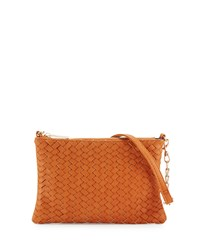 Neiman Marcus Woven Faux Leather Crossbody Bag Cognac Red