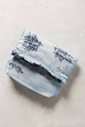 Anthropologie Denim Patchwork Clutch Blue