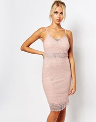 Fashion Union Cami Bodycon Dress In Lace Pink
