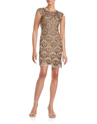 Aidan Aidan Mattox Beaded And Sequin Sheath Dress Bronze