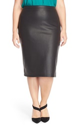 Bb Dakota Snakeskin Embossed Faux Leather Pencil Skirt Plus Size Black
